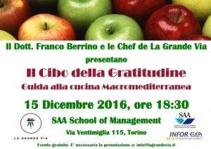 Il Cibo della Gratitudine. Il libro con Franco Berrino @ SAA School of Management | Torino | Piemonte | Italia