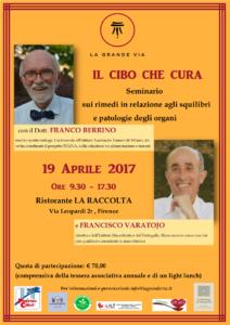 Il Cibo che cura con il Dottor Franco Berrino e Francisco Varatojo @ Ristorante La Raccolta | Firenze | Toscana | Italia