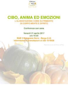 Cibo Anima Emozioni. Nutrimento per corpo mente e spirito @ B&B Il Melograno Nano | Filecchio | Toscana | Italia