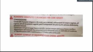 ETICHETTA PESSIMO CIBO CANI CEREALI PER PRIMO